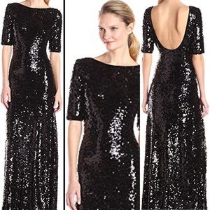 BCBGMaxazria Ennor Black Full Sequin  Maxi Dress